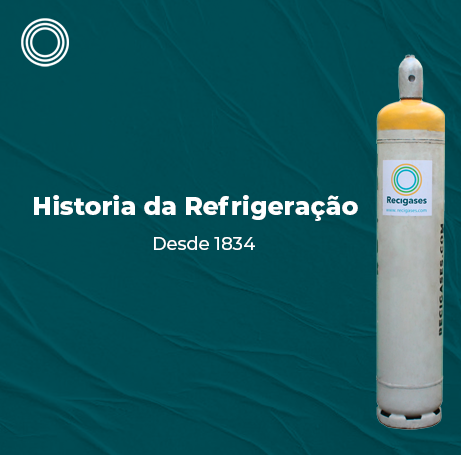A imagem representa uma peça gráfica: Um design com a folha amassada e um cilindro de gás refrigerante na frente. O texto é: História da refrigeração desde 1834